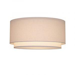 Stoffen Plafonniere Wit Linden 47 cm - Plafondlamp met 2 kappen van stof