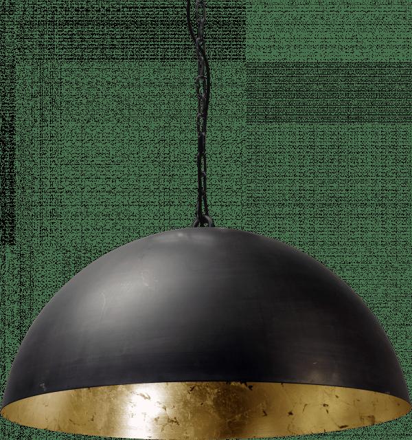 Larry 60cm hanglamp gunmetal met bladgoud