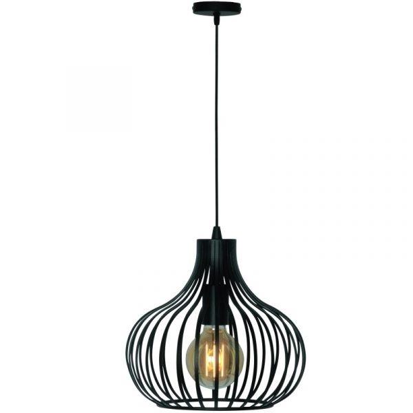 Morgana Lamp - Zwarte Modern Hanglamp met Spijlen (48 cm)