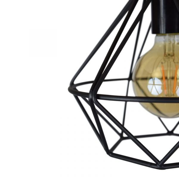 Wire Plafonniere Industrieel - Draadlamp zwart diamant