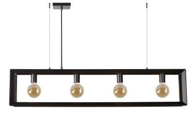 Hanglamp Construction met 4 lampen | Donker Grijs Industrieel uitgeschakeld
