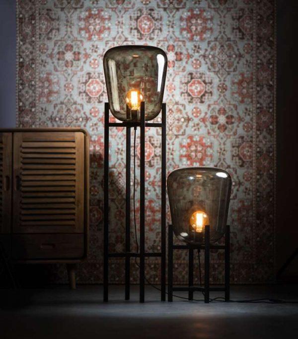 BENN Vloerlamp & Tafellamp | Met glazen rookglas antraciet lampenkap