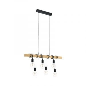 Townshend Hanglamp | Met 6 fittingen - houten balk
