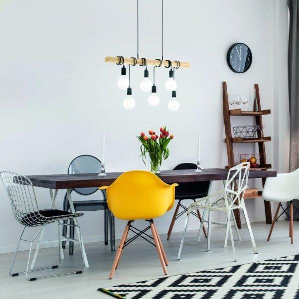 Hanglamp met 6 fittingen - om hout balk gewikkeld Townshend