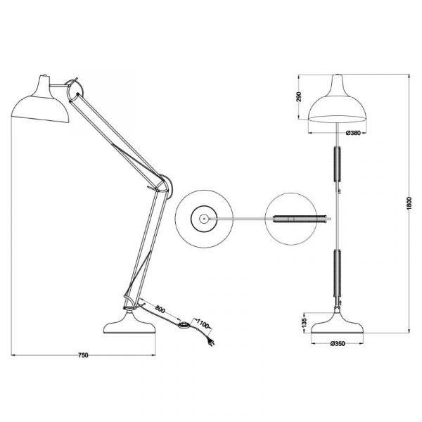 Seventy Hobby Vloerlamp - industrieel & vintage