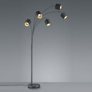 Vloerlamp Zwart met Goud - 5 lampen (Seventy Tree)