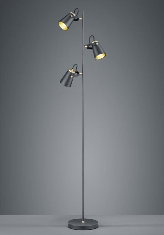 Vloerlamp zwart met zwarte kappen (goudkleurig)