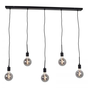 Hanglamp incl. meerdere lampen | Bulby 5 lichts 125 mm rookglas
