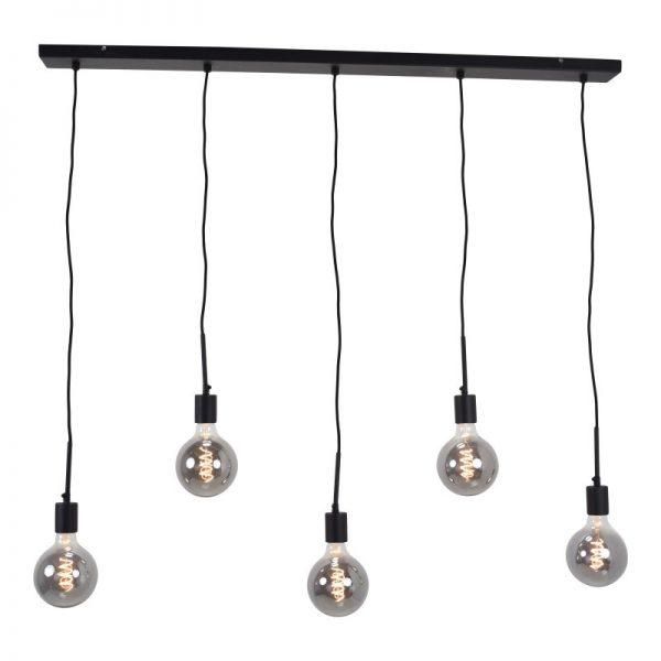 Hanglamp incl. meerdere lampen | Bulby 5 lichts 125 mm rookglas