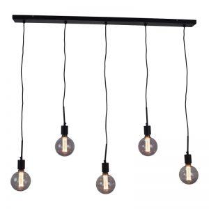 BULBY 5-lichts | Hanglamp meerdere lichtpunten (met rookglas / kooldraad 125 mm)