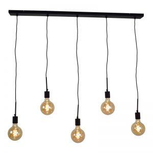 Hanglamp met 5 x vintage Globe LED Lampen - Bulby