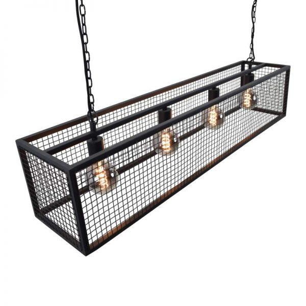 Cubic Hanglamp -  Rechthoekig Zwarte frame met gaas