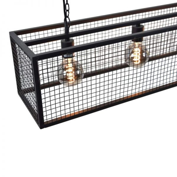 Cubic Gaas Hanglamp - Zwart stalen frame met industrieel gaas