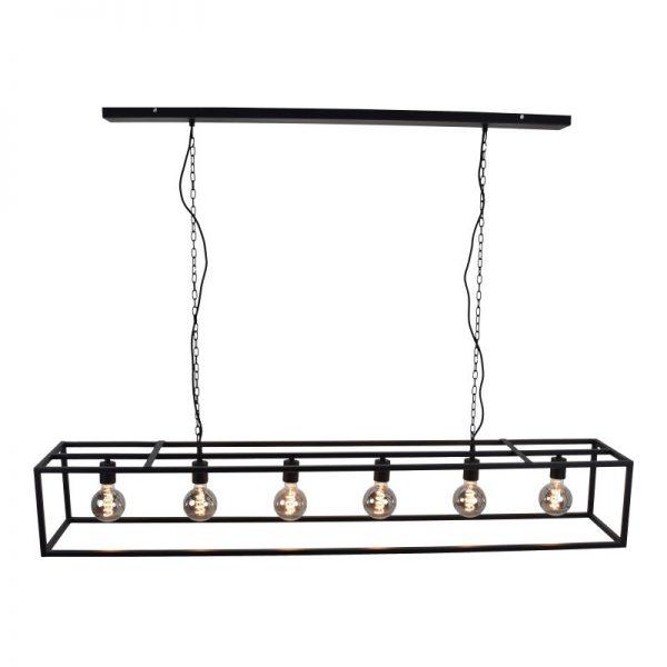 Cubic Large Hanglamp met metalen zwart langwerpig frame