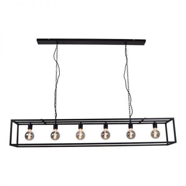 Rechthoekige Hanglamp Cubic Large - Zwart stalen frame