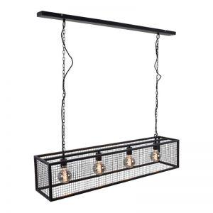 Zwarte Hanglamp Cubic - Voor 4 lampen met zwart frame & gaas