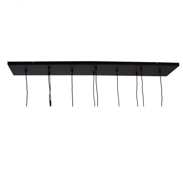 Zwarte plafondplaat - Met 10 snoeren en lampen