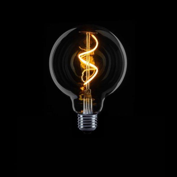 LED Lamp met spiraal - rookglas