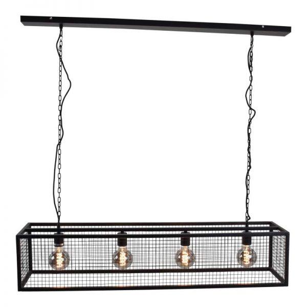 Stoere Hanglamp voor boven eettafel - Cubic Gaas Zwart