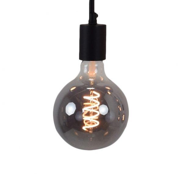 Vintage LED Lamp - met spiraal en gerookt glas
