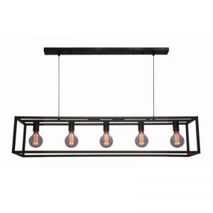 Hanglamp Cubic Strak | Langwerpig stalen frame met 5 lichtpunten
