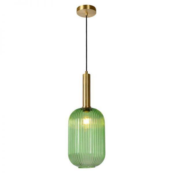Danique Hanglamp - Glas retro in groen (cilinder)