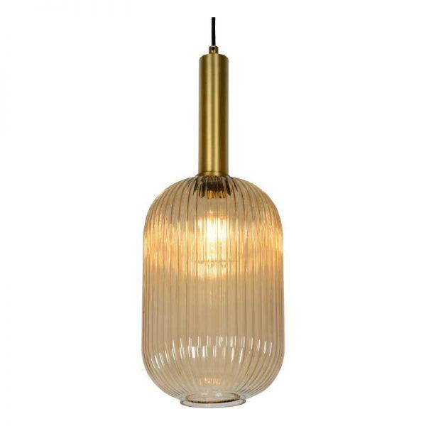 Glazen lampenkap -Amber kleur Retro (cilinder)