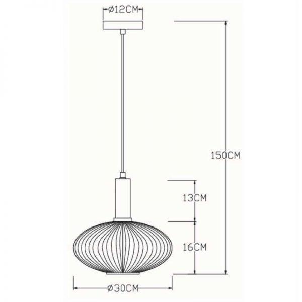 Afmetingen - Hanglamp Danique Ovalen Kap