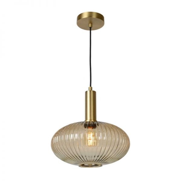 Hanglamp Danique met glazen kap (retro & amber)