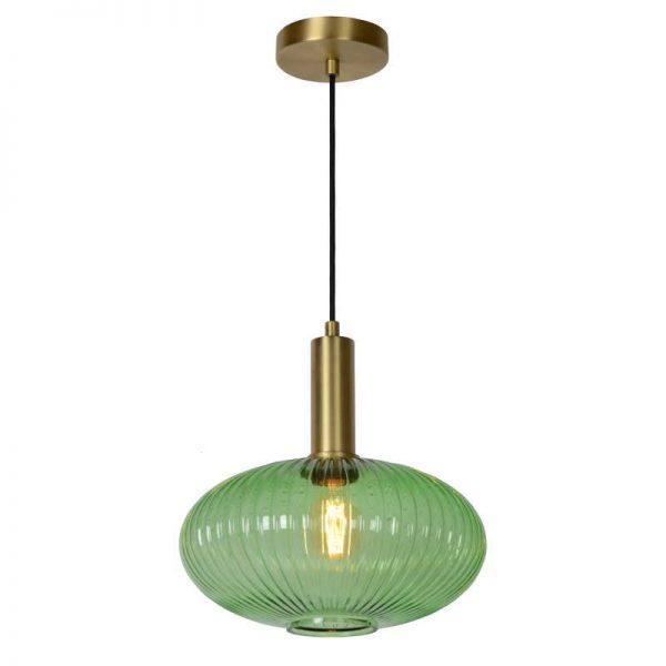Hanglamp Danique - Groene glazen kap (30 cm)