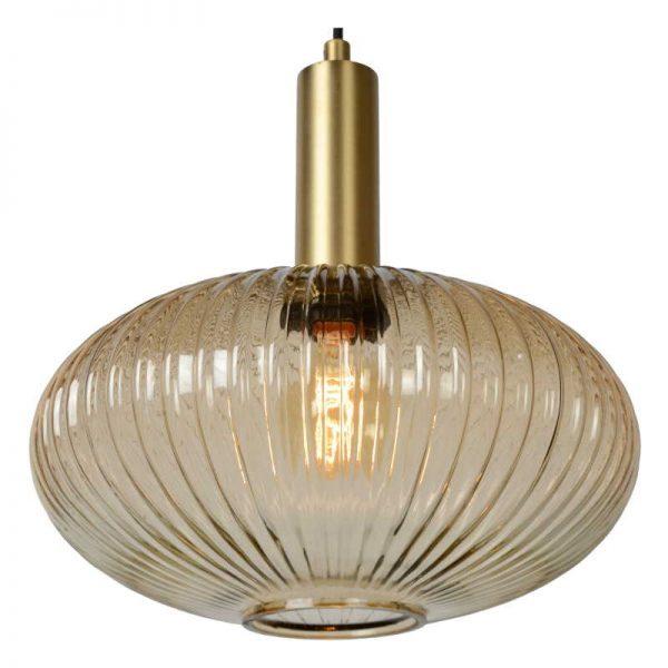 Hanglamp met glazen lampenkap - Ovalen kap (Amber kleur )