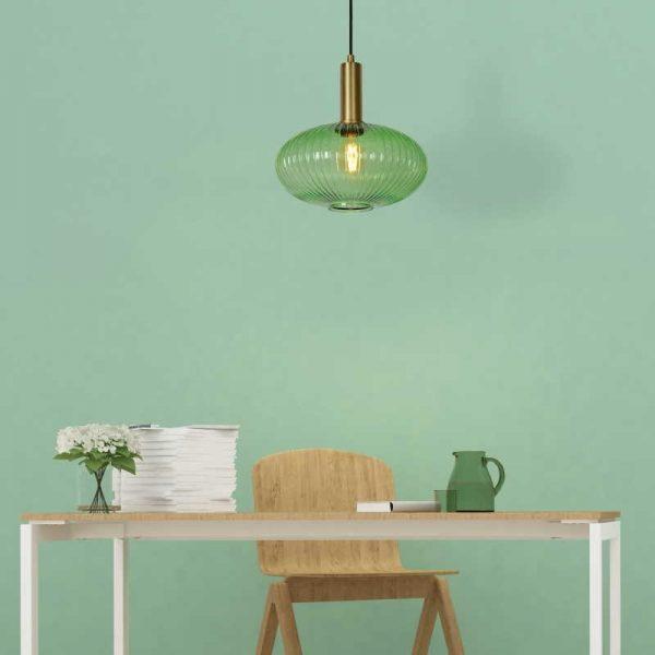 Hanglamp Glazen Kap - Ovaal (groen)