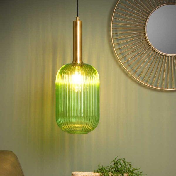 hanglamp retro - kap van glas (groen) cilinder danique