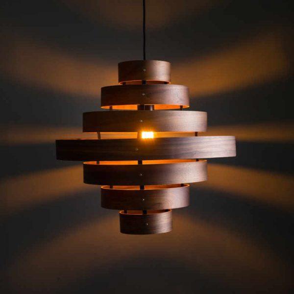 LUXA HANGLAMP - 7 houten ringen
