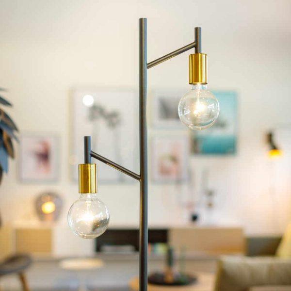 Industriele Vloerlamp Zwart Goud - Steady Duo