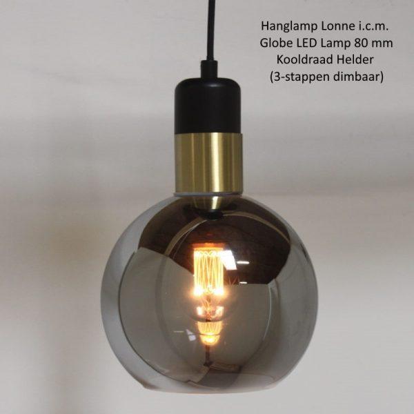 Hanglamp Bol Rookglas - Lonne (te zien bij o.a. Loods 5)