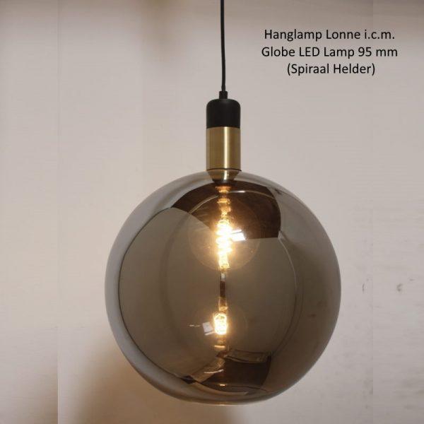 Hanglamp Lonne - industrieel met rookglas