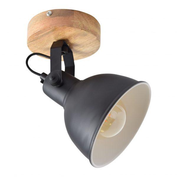 Industriele Plafondspot Hout en Metaal - Study Wood