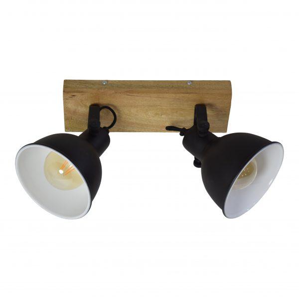 Spot van hout en metaal - 2 kapjes (industrieel)