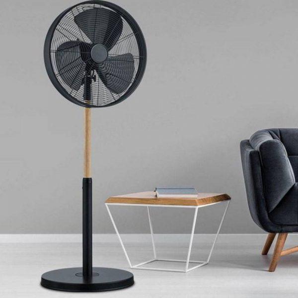 Ventilator Vloer Zwart Hout Metaal - Viking
