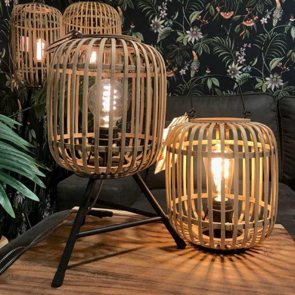 Tafellamp van rotan - driepoot en hengsel
