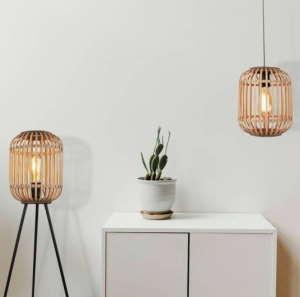 rotan vloerlamp en hanglamp