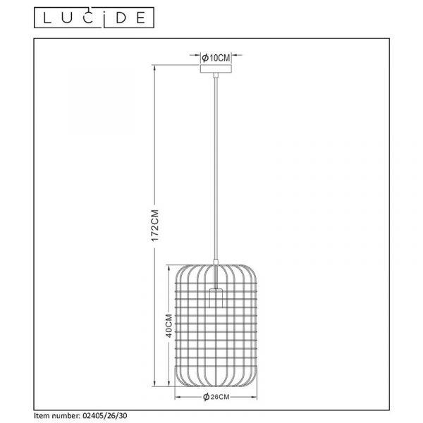 Esmee Hanglamp Zwart 26 cm - afmetingen Lucide