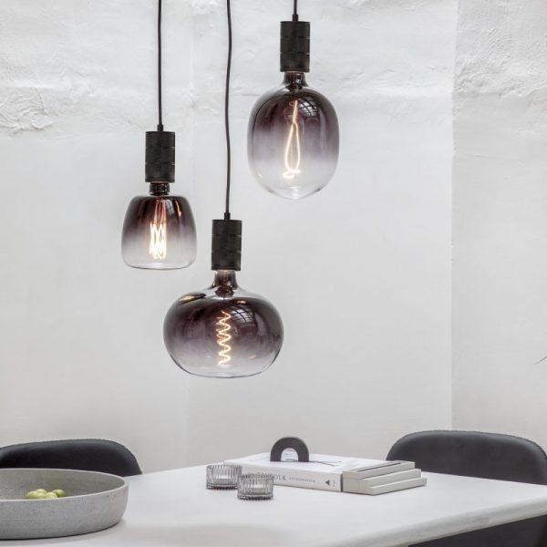 Plafondplaat voor 3 lampen - Zwart