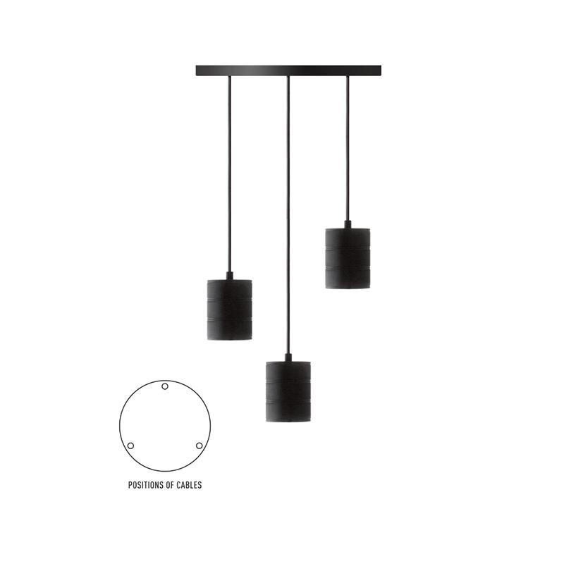 Plafondplaat voor 3 Lampen (zwart) - Calex