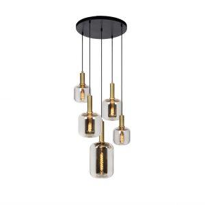 Joanet_hanglamp_5-lichts_rookglas