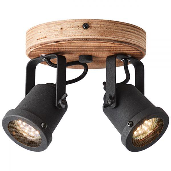 Roy spot 2 lichts zwart industrieel hout