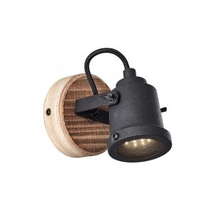 Roy spot 1 lichts zwart industrieel hout