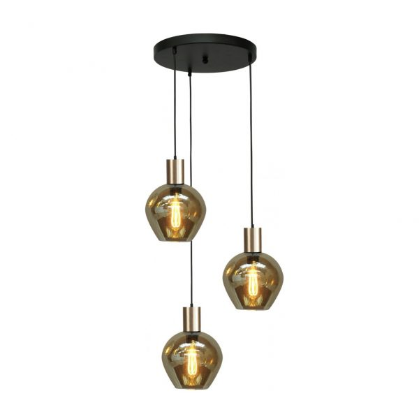 Nicole/Bounty hanglamp 3lichts rookglazen kappen plafondplaat
