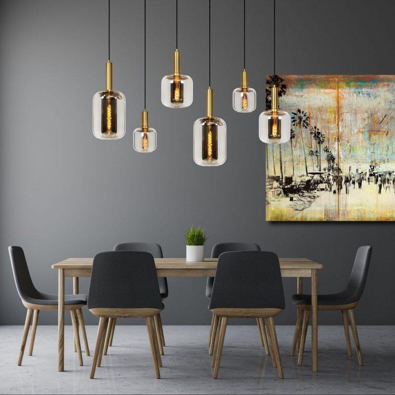 Rookglas Hanglampen met 6 glazen kappen met goud